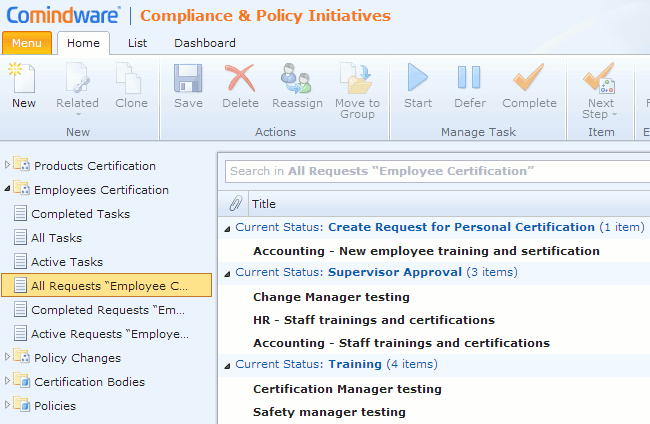 develop and implement employee certification process tracking system
